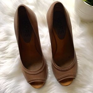 """Michael Kors Shoes - MICHAEL KORS """"Newton"""" Peep Toe Wedge Shoes Tan 6.5"""